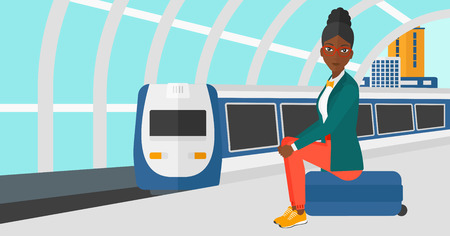 arriving: An african-american woman sitting on a railway platform on the background of modern train arriving at the station vector flat design illustration. Horizontal layout.