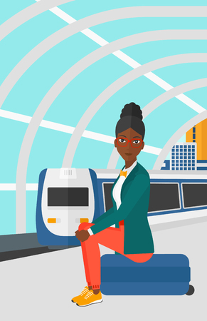 modern train: An african-american woman sitting on a railway platform on the background of modern train arriving at the station vector flat design illustration. Vertical layout.