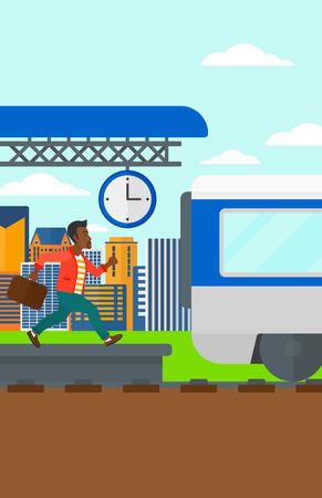 An african-american latecomer man running along the platform to reach the train on a city background vector flat design illustration. Vertical layout.