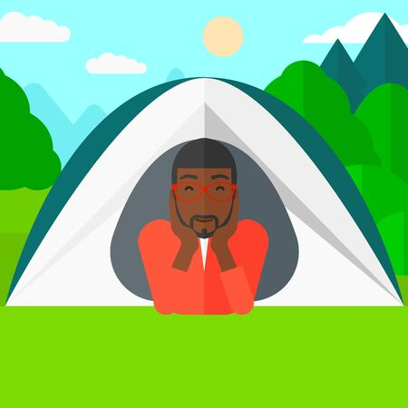 crawling: An african-american man crawling out from a tent on the background of forest vector flat design illustration. Square layout.