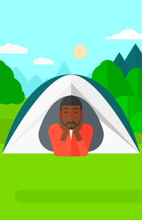 crawling: An african-american man crawling out from a tent on the background of forest vector flat design illustration. Vertical layout.