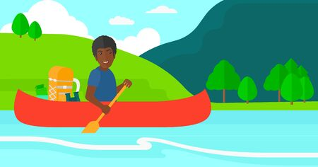 An african-american man canoeing on the river with a skull in hands and some tourist equipment behind him on the background of mountains vector flat design illustration. Horizontal layout. Vectores