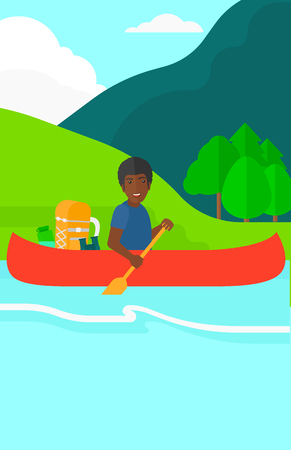 An african-american man canoeing on the river with a skull in hands and some tourist equipment behind him on the background of  mountains vector flat design illustration. Vertical layout.