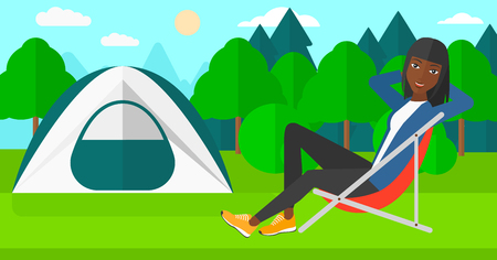forest trees: An african-american woman sitting in a folding chair on the background of camping site with tent vector flat design illustration. Horizontal layout.