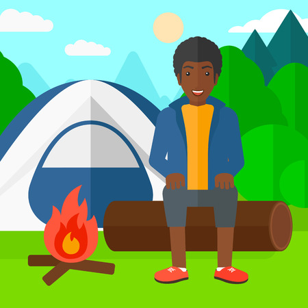 An african-american man sitting on a log near the fire on the background of camping site with tent vector flat design illustration. Square layout. Illustration