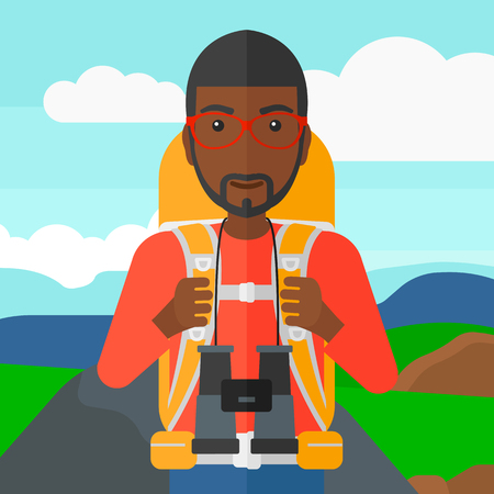 An african-american man with backpack and binoculars hiking on the background of hilly countryside vector flat design illustration. Square layout.