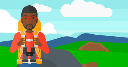 An african-american man with backpack and binoculars hiking on the background of hilly countryside vector flat design illustration. Horizontal layout. Ilustração