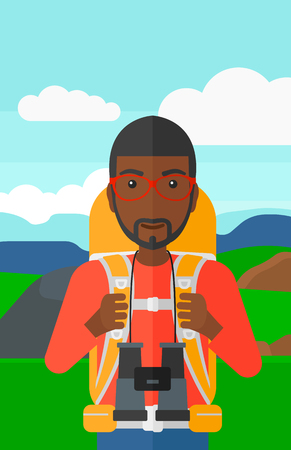 An african-american man with backpack and binoculars hiking on the background of hilly countryside vector flat design illustration. Vertical layout.