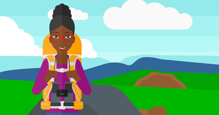 hilly: An african-american woman with backpack and binoculars hiking on the background of hilly countryside vector flat design illustration. Horizontal layout.