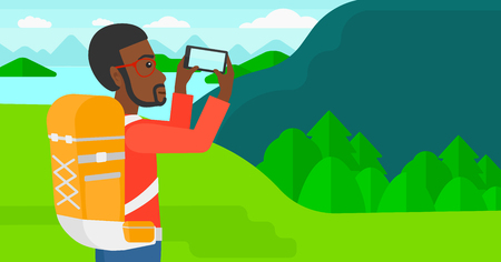 taking photo: An african-american man taking photo of landscape with mountains and lake vector flat design illustration. Horizontal layout.