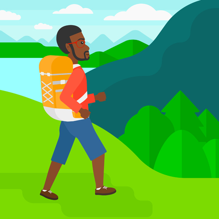 An african-american man with backpack hiking in mountains vector flat design illustration. Square layout. Illustration