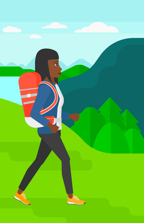 woman hiking: An african-american woman with backpack hiking in mountains vector flat design illustration. Vertical layout. Illustration
