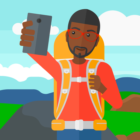 An african-american man making selfie on the background of hilly countryside vector flat design illustration. Square layout. Ilustração
