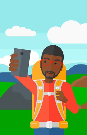 An african-american man making selfie on the background of hilly countryside vector flat design illustration. Vertical layout.