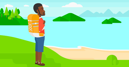 An african-american man with backpack standing on top of a hill and enjoying the sea view vector flat design illustration. Horizontal layout. Vectores