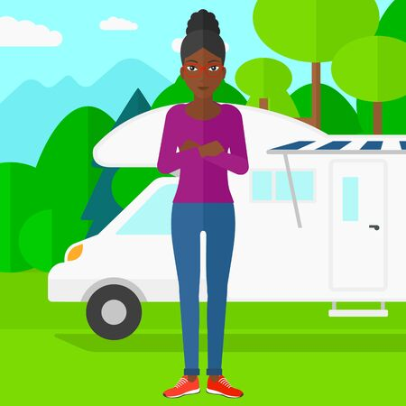 motorhome: An african-american woman standing on the background of motorhome in the forest vector flat design illustration. Square layout.