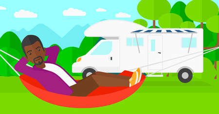 An african-american man lying in a hammock on the background of motorhome in the forest vector flat design illustration. Horizontal layout. Illustration