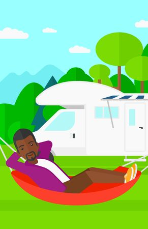 motorhome: An african-american man lying in a hammock on the background of motorhome in the forest vector flat design illustration. Vertical layout. Illustration