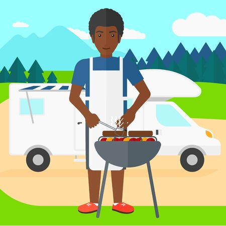 cook cartoon: An african-american man preparing barbecue  on the background of motorhome in the forest vector flat design illustration. Square layout.