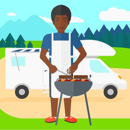 brandweer cartoon: Een Afro-Amerikaanse man voorbereiding barbecue op de achtergrond van de camper in het bos vector platte ontwerp illustratie. Vierkante lay-out. Stock Illustratie