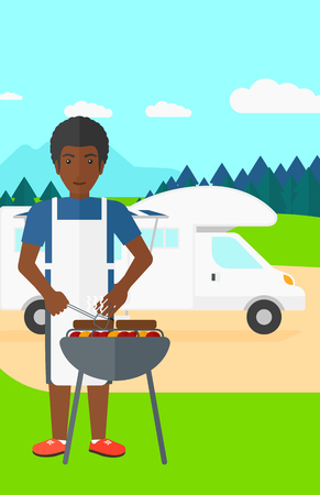 motorhome: An african-american man preparing barbecue  on the background of motorhome in the forest vector flat design illustration. Vertical layout.