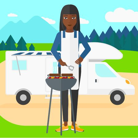 cook cartoon: An african-american woman preparing barbecue  on the background of motorhome in the forest vector flat design illustration. Square layout.