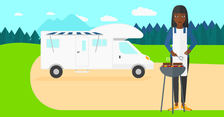 motorhome: An african-american woman preparing barbecue  on the background of motorhome in the forest vector flat design illustration. Horizontal layout.