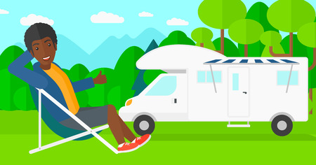 chair cartoon: An african-american man sitting in a folding chair and showing thumb up on the background of motorhome in the forest vector flat design illustration. Horizontal layout. Illustration