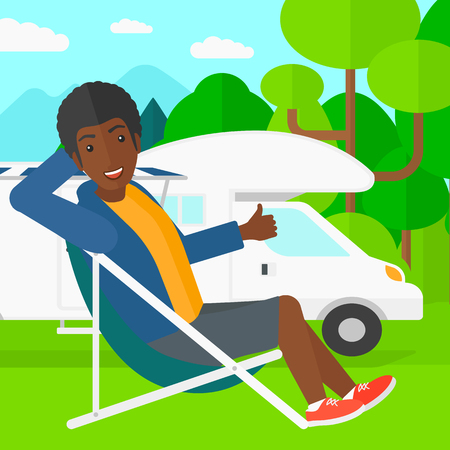 motorhome: An african-american man sitting in a folding chair and showing thumb up on the background of motorhome in the forest vector flat design illustration. Square layout.