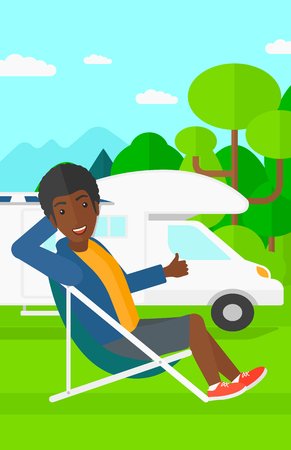 chair cartoon: An african-american man sitting in a folding chair and showing thumb up on the background of motorhome in the forest vector flat design illustration. Vertical layout.