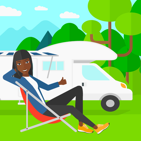 motorhome: An african-american woman sitting in a folding chair and showing thumb up on the background of motorhome in the forest vector flat design illustration. Square layout.