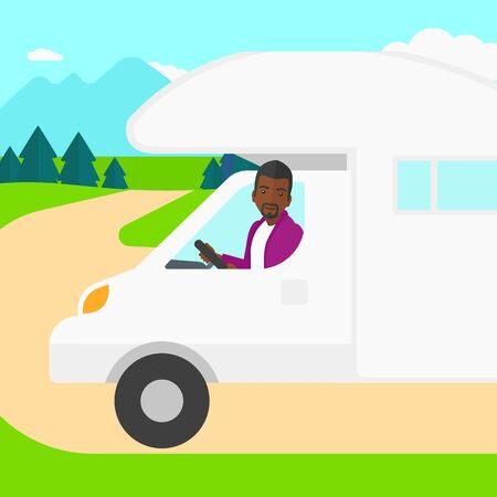 motor home: An african-american man driving a motor home in the forest vector flat design illustration. Square layout.