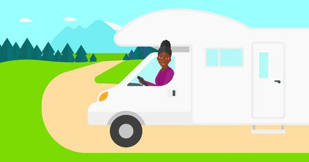 motor home: An african-american woman driving a motor home in the forest vector flat design illustration. Horizontal layout.