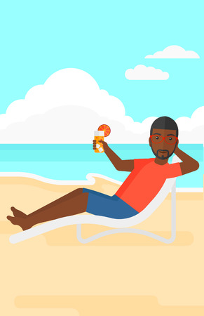 An african-american man sitting in a chaise longue and holding a cocktail in hand on the background of sand beach with blue sea vector flat design illustration. Vertical layout. Illustration