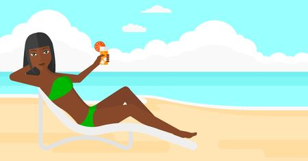 chaise longue: An african-american woman sitting in a chaise longue and holding a cocktail in hand on the background of sand beach with blue sea vector flat design illustration. Horizontal layout. Illustration