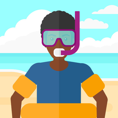An african-american man standing in mask, tube and rubber ring on the background of sand beach with blue sea vector flat design illustration. Square layout.