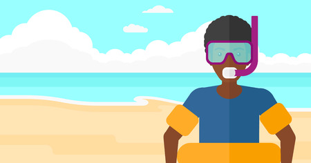 rubber tube: An african-american man standing in mask, tube and rubber ring on the background of sand beach with blue sea vector flat design illustration. Horizontal layout. Illustration