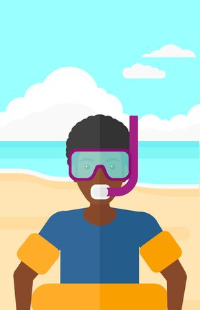 rubber ring: An african-american man standing in mask, tube and rubber ring on the background of sand beach with blue sea vector flat design illustration. Vertical layout.