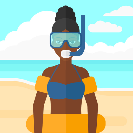 rubber tube: An african-american woman standing in mask, tube and rubber ring on the background of sand beach with blue sea vector flat design illustration. Square layout. Illustration
