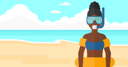 rubber tube: An african-american woman standing in mask, tube and rubber ring on the background of sand beach with blue sea vector flat design illustration. Horizontal layout. Illustration