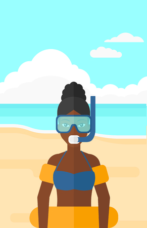rubber tube: An african-american woman standing in mask, tube and rubber ring on the background of sand beach with blue sea vector flat design illustration. Vertical layout. Illustration