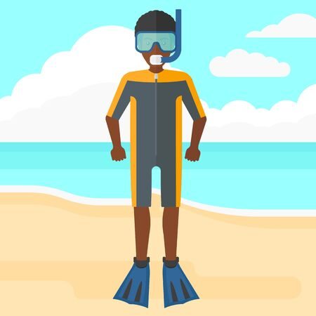 An african-american man standing in diving suit, flippers, mask and tube on the background of sand beach with blue sea vector flat design illustration. Square layout.