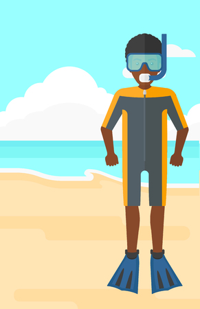 An african-american man standing in diving suit, flippers, mask and tube on the background of sand beach with blue sea vector flat design illustration. Vertical layout. Illustration