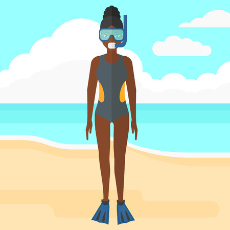 An african-american woman standing in swimsuit, flippers, mask and tube on the background of sand beach with blue sea vector flat design illustration. Square layout.