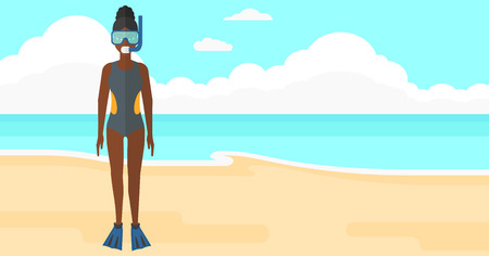 flippers: An african-american woman standing in swimsuit, flippers, mask and tube on the background of sand beach with blue sea vector flat design illustration. Horizontal layout.