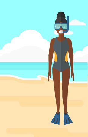 flippers: An african-american woman standing in swimsuit, flippers, mask and tube on the background of sand beach with blue sea vector flat design illustration. Vertical layout.