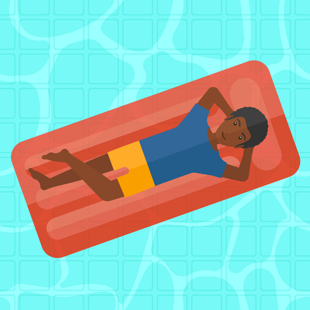 An african-american man relaxing on the air bed in the swimming pool vector flat design illustration. Square layout. Vettoriali