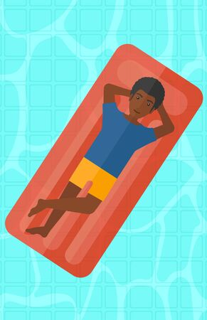 An african-american man relaxing on the air bed in the swimming pool vector flat design illustration. Vertical layout.
