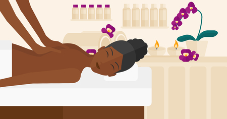 topless women: An african-american woman getting a back massage on the background of spa center vector flat design illustration. Horizontal layout. Illustration