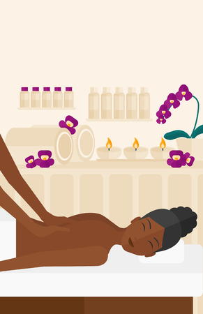 An african-american woman getting a back massage on the background of spa center vector flat design illustration. Vertical layout. Illustration